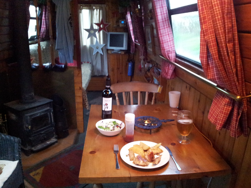 Celebrating the first night on the boat - alone!