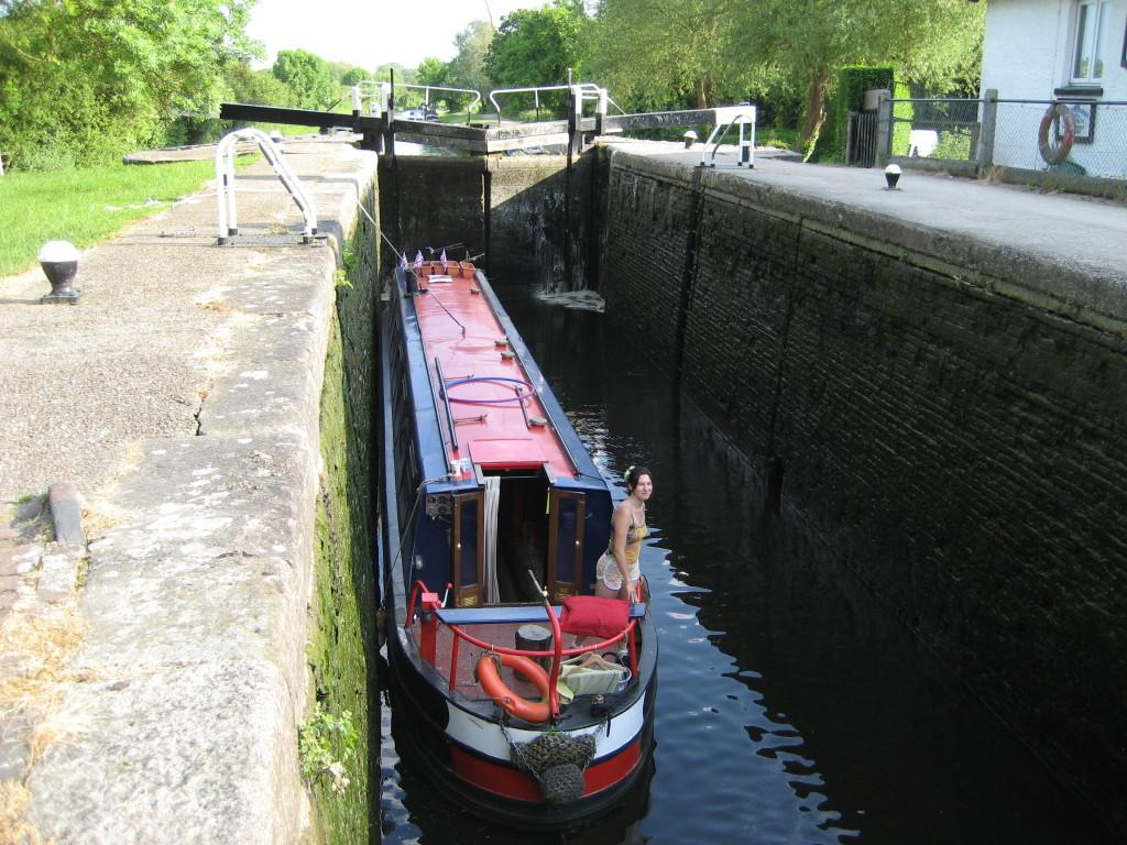 narrowboat in the lock